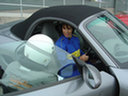 Image 14 - Helen prepares to take a porche boxter on to the race track